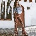Boêmio 2017 das mulheres comprimento pants completa floral impressão calças compridas cintura baixa de férias calças flare calças primavera longo retro capris