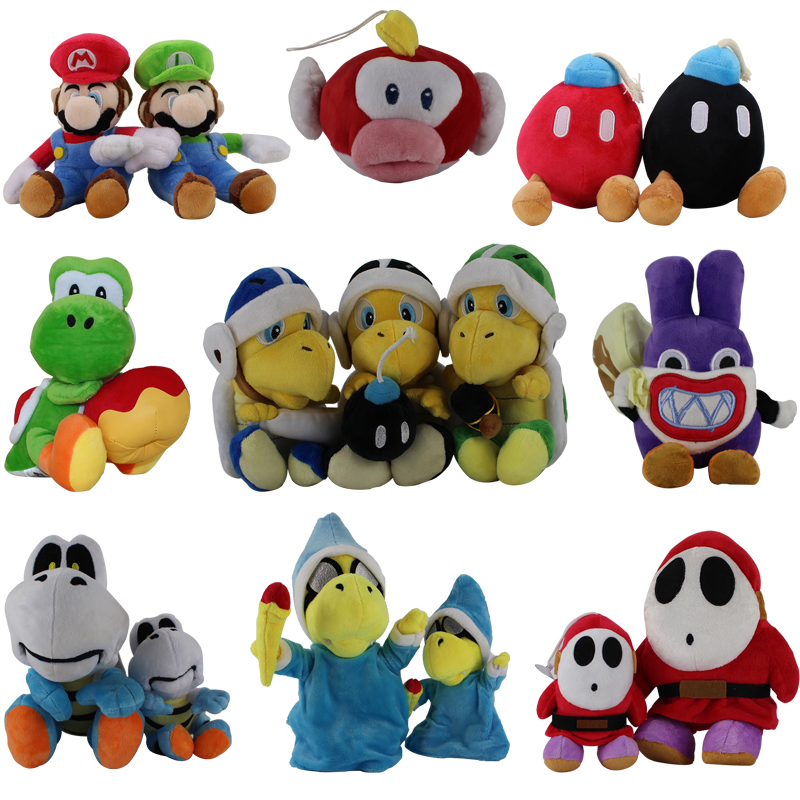 Super Mario Bros Luigi Shy Guy Toad Birdo Flying Fish Kamek Peach Yoshi Koopa Troopa Bowser Diddy Kong Plush Toy Stuffed Dolls(China)