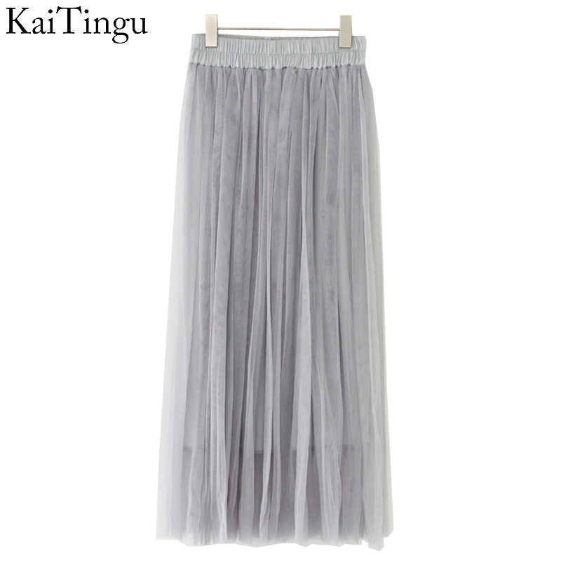 KaiTingu Brand New Fashion 2016 Ladies Gray Color 3 Layer Pleated Skirt Long Tulle Skirts Straight Grey Solid Mesh Skater Skirt