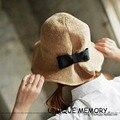 Mujeres con estilo Plegable Manera de Gran Capitalización de Ala Ancha Beach Floppy Sun Tour Dulce Mariposa Sombreros para Las Mujeres Sombrero de Paja de Verano