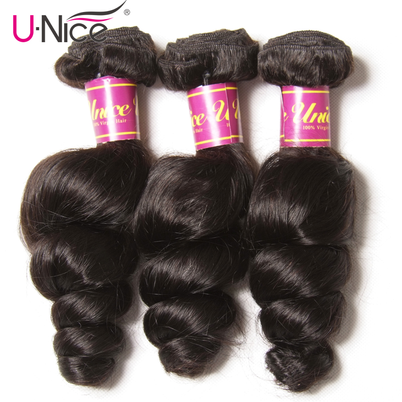 UNice Hair Malaysian Loose Wave 3 Bundles 100 Human Hair Extension Natural Color Remy Hair Weaves