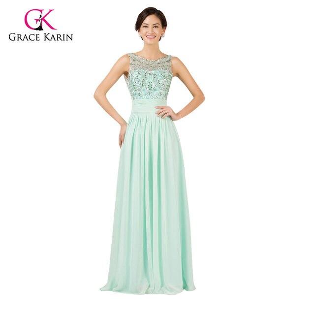 Online Shop Light Mint Green Long Chiffon Bridesmaid Dresses Under ...