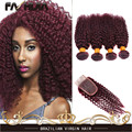7А волосы бордовый бразильские волосы глубокая волна вьющиеся 4 шт. много с закрытие бразильского глубокая волна красного человеческих волос 99j чешского вьющиеся волосы