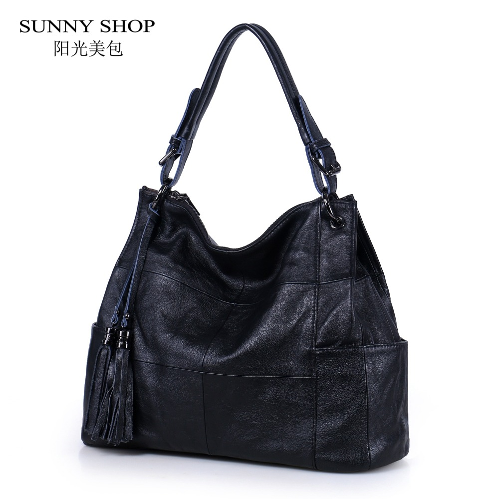 SUNNY SHOP LUXURY 100 Genuine Leather Women Bag With Swing Tassel Charm Elegant Paid Office Shoulder