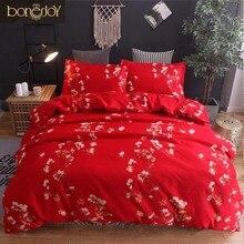 Bonenjoy Красный цвет Цветочный печатный комплект постельного белья хлопок Полиэстер Постельное белье Queen ropa de cama Американский стиль Пододеяльник