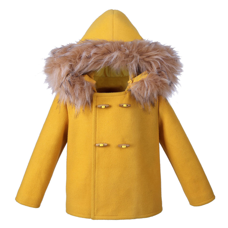 Pettigirl Yellow Boys Coats Faux Fur Hooded Warm Children Winter Clothes Boys Outwear Kids Clothing B