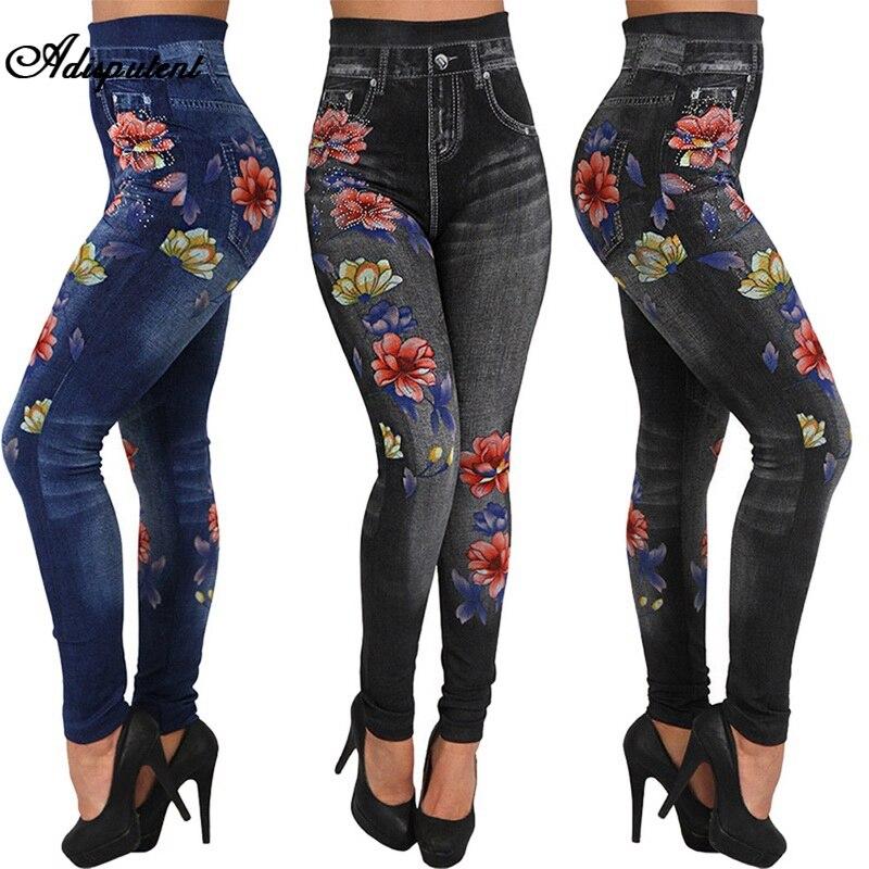 Adisputent femmes élastique Denim Jeans dames sans couture imprimé Floral Sexy pantalon complet grande Taille Streetwear Jean Taille Haute