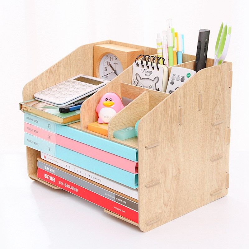 Deli 3 Layers Wooden Desk File Tray Holders Set Book Holder Organizer Wood Frame DIY Portfolio Rack