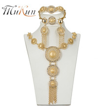 MUKUN free shipping 2018 Christmas Necklace Bangle Earring African Beads gold-color jewelry set Dubai Fashion Wedding women gift charming peach crystal beads handmade african jewelry set wedding party beads necklace women fashion set free shipping aby337