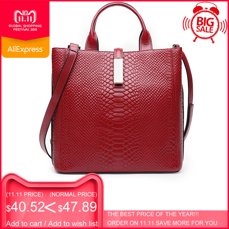 цены на ESUFEIR Genuine Leather Handbag For women Cow Leather Serpentine Embossed Shoulder Bag Famous Brand Women Bag Casual Tote Bags в интернет-магазинах