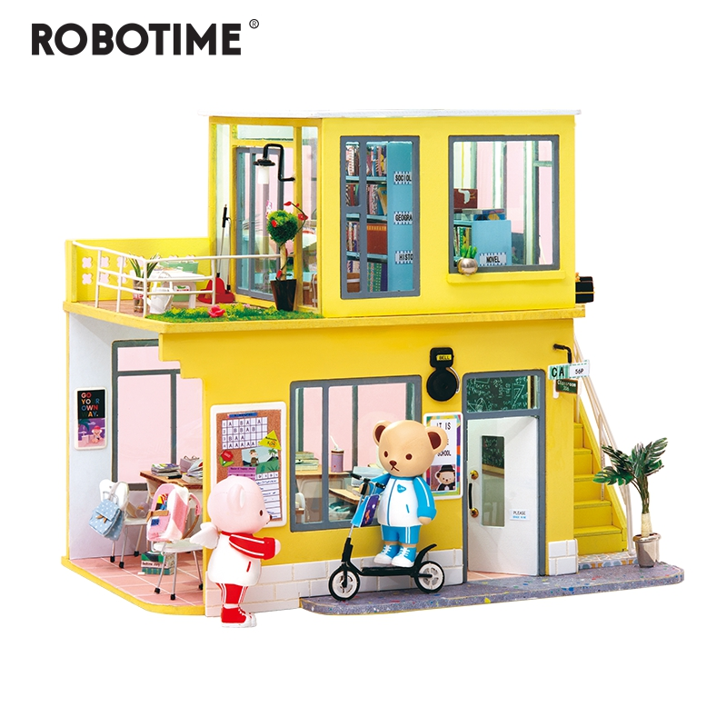 New Doll House Toy Miniature Wooden Doll House Loft With: Robotime 2019 New Arrival Luxury DIY House With Bear