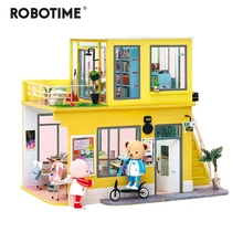 Robotime 2019 New Arrival Luxury DIY House with Bear&Furniture Children Adult Miniature Wooden Doll House Model Kit Dollhouse TD