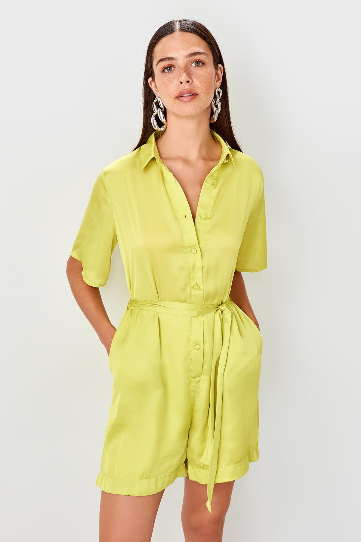 Trendyol Green Belted Satin Jumpsuit TWOSS19TU0015