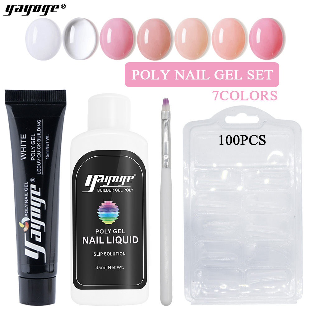 Yayoge Poly Gel Set 4in1 15ml New UV Gel Nail Polish Qucik Builder Gel Varnish 7 colors For Nails Extension With Polygel ToolsYayoge Poly Gel Set 4in1 15ml New UV Gel Nail Polish Qucik Builder Gel Varnish 7 colors For Nails Extension With Polygel Tools