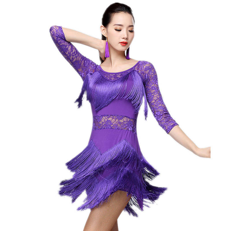 New Fashion 2019 Plus Size Women Dance Wear Salsa Samba Dresses Half Sleeves Floral Lace Girls Latin Dance Dress (with Pants)
