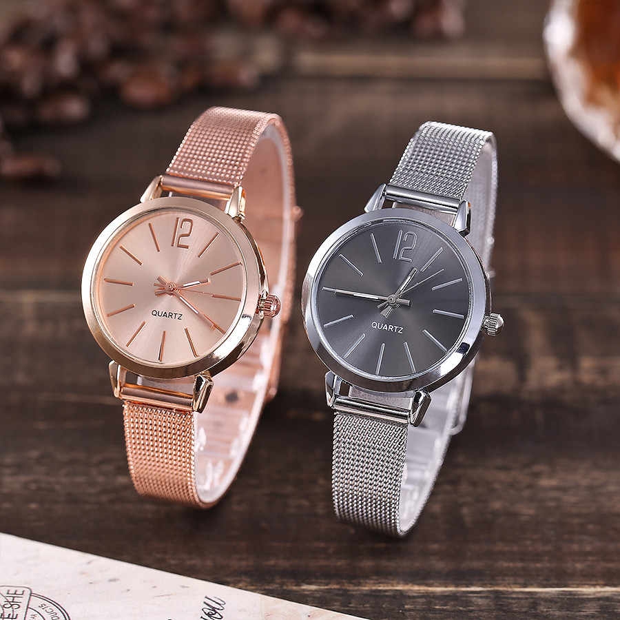 Watch Women Stainless Steel Mesh Band Analog Quartz Wristwatch Fashion Luxury Ladies Golden Rose Gold Watch Clock reloj mujer F3