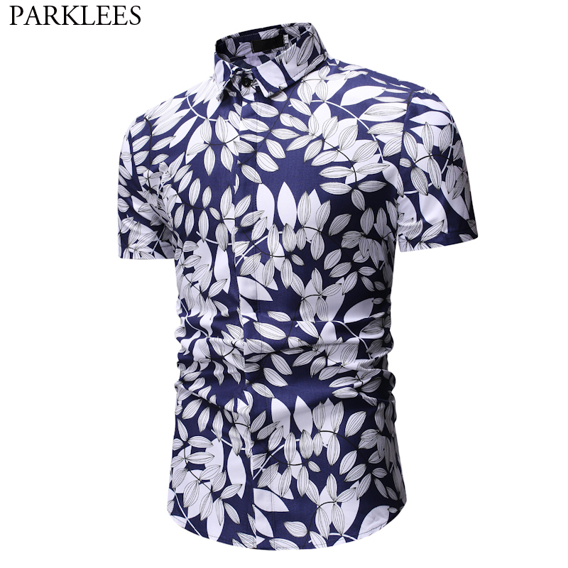 Fashion Leaves Print Short Sleeve Hawaiian Shirt Men 2018 New Slim Fit Casual Button Down Social Shirt Male Camisa Masculina 3XL