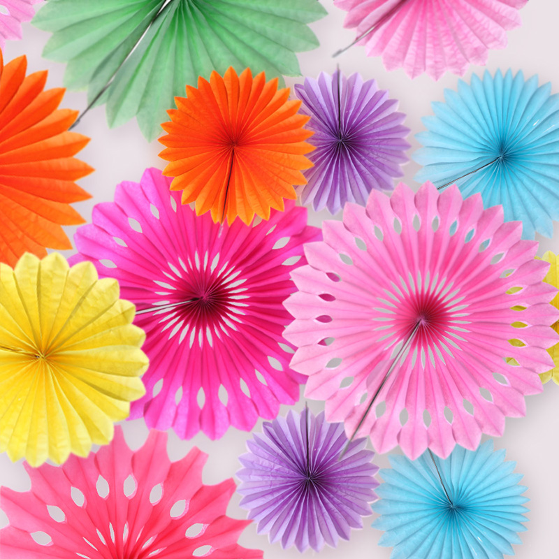 New 5pcs Tissue Paper Fan Diy Crafts Hanging Wedding: 5Pcs Tissue Paper Cut Out Fans Pinwheels Hanging Gift