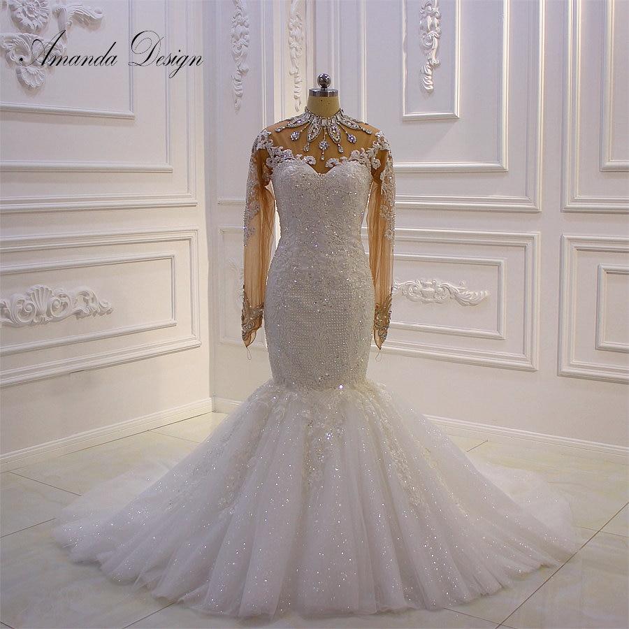 Amanda Design robe mariee Long Sleeves Lace Appliques Crystal See Through Mermaid Wedding DressWedding Dresses   -
