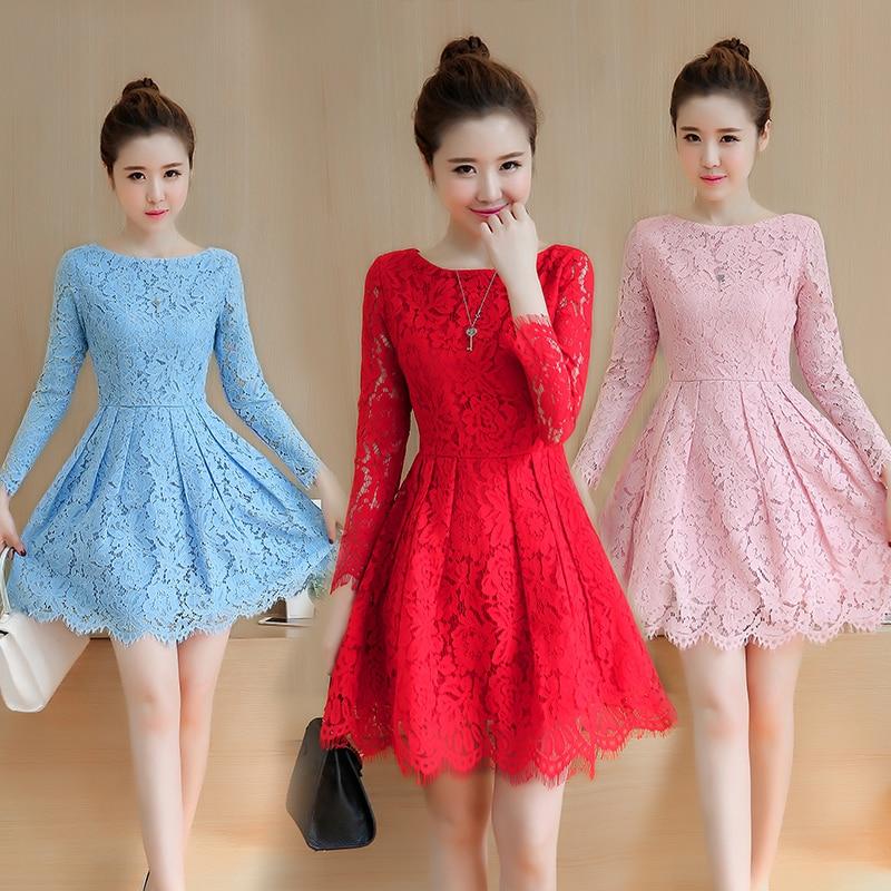 Spring Autumn Lace Dress 2018 New Korean Fashion Mini Vestidos Women