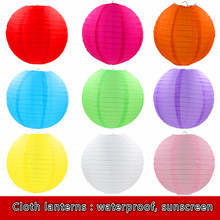 Multicolor Round Waterproof silk Cloth Lantern 20-25-30-35-4