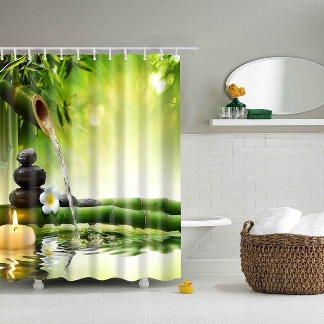LFH tissu rideau de douche Spa décor vert jaune résistant à la moisissure  salle de bain Zen jardin thème décor vue pour salle de bain bambous