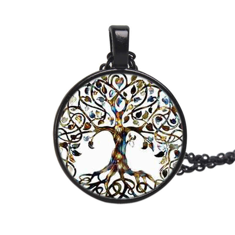 Newest Tree Of Life Statement Necklace Art Photo Glass Cabochon Pendant Charm Women Choker DIY Necklace For Gifts Jewelry