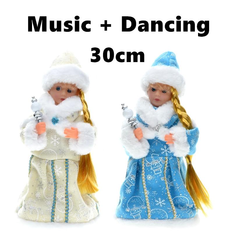 30cm Año Nuevo Adornos navideños Eléctrico Santa Claus Baile musical Muñecas de peluche Juguetes Regalos para niños Decoraciones para el hogar Artesanías
