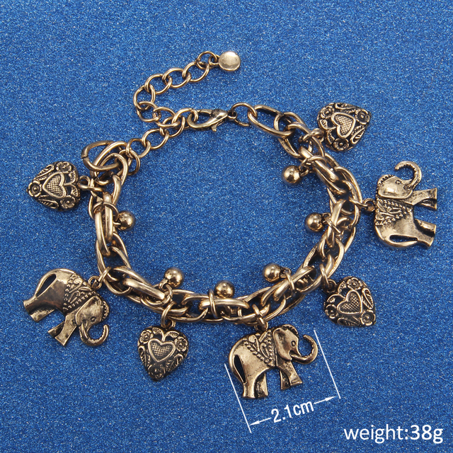 Vintage Gold Silver Color Anklets for Women Elephant Pendant Charms Box Chain Beach Summer Foot Ankle Bracelet Wholesale Jewelry 6