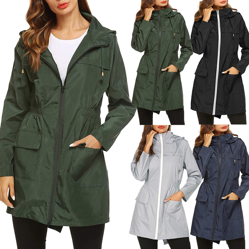 Windproof Jacket Coat Outdoor Women Camping Zipper Sport Autumn Girl Long