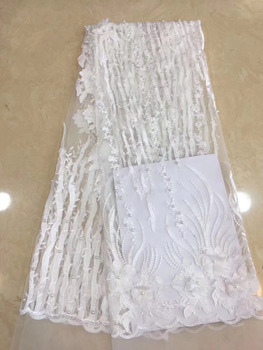 Pure White 3D Flower Beaded French Lace Fabric Beautiful African Tulle Lace Sewing Nigerian Fabric 2018 High Quality 5 Yards CDF