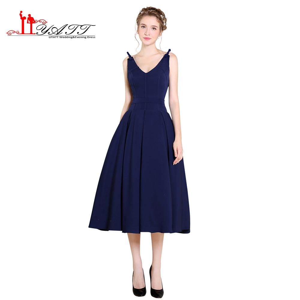 Discount Designer Evening Dresses: LIYATT Navy Blue Sexy Deep V Neck Simple Elegant Cheap