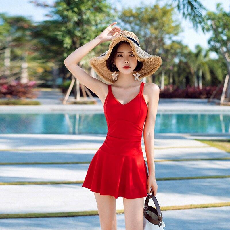 M-XXL Sexy nero rosso Push Up 2018 nuovo Asia Pieghettato gonna costumi da bagno spiaggia donne costumi da bagno di Alta Collo uno Collega costume da bagno