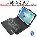 Для Samsung GALAXY Tab S2 9.7 T810 T815 съемный беспроводной Bluetooth 3.0 клавиатура + кожаный чехол стенд крышку с стекло