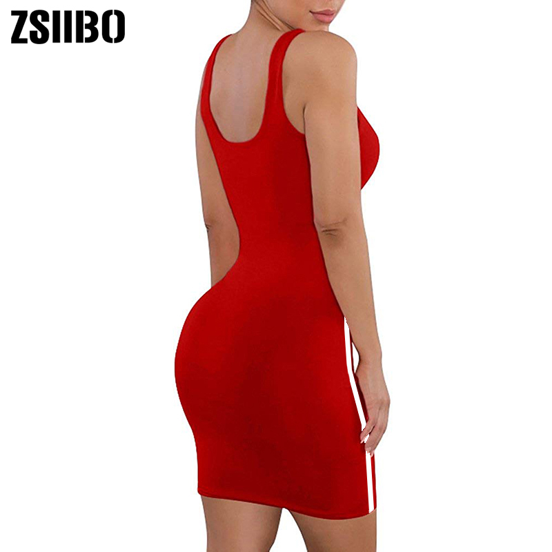 ZSIIBO Casual Tight Dress Women Fashion Sexy Stretch Slim Dresses Ladies Summer Striped Tank Mini Dress Plus Size Vestidos
