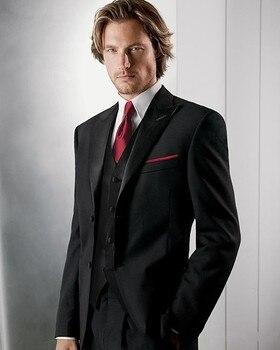 Custom Made Groom Tuxedo Black Groomsmen Peak Satin Lapel Wedding/Dinner Suits Best Man Bridegroom (Jacket+Pants+Tie+Vest)B313