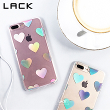 LACK Laser Love Heart Phone Case For iphone 7 Case Fashion Transparent Clear Back Cover Cute Cases For iphone7 7 PLus Capa HOT(China)