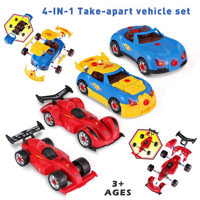 53Pcs 4 In 1 Children Electric Drill Screw Group Toys Car Building Blocks Creative Assembling Toy STEM Nut Disassembly Match Toy 2
