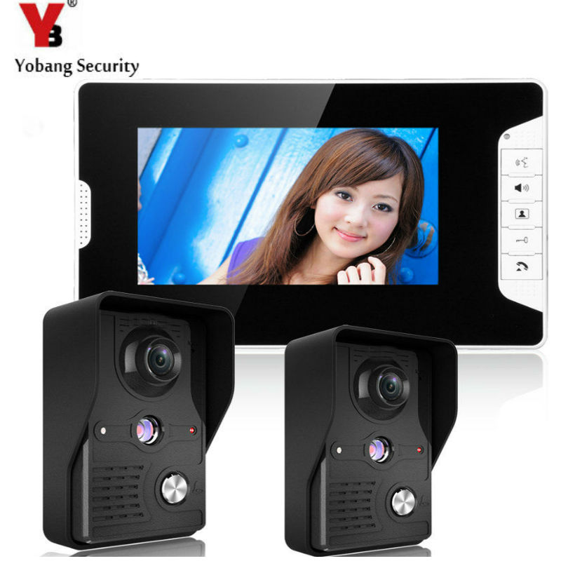 YobangSecurity 7-Inch LCD Video Doorbell Intercom Door Phone Camera System Kit with 2 Camera 1 Monitor yobangsecurity wifi wireless video door phone doorbell camera system kit video door intercom with 7 inch monitor android ios app