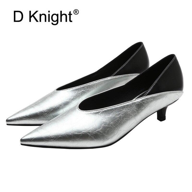 Rétro pointu pompes femmes chaussures Sexy profonde V bouche bureau dame travail chaussures printemps coréen en cuir verni talons aiguilles chaussures femme