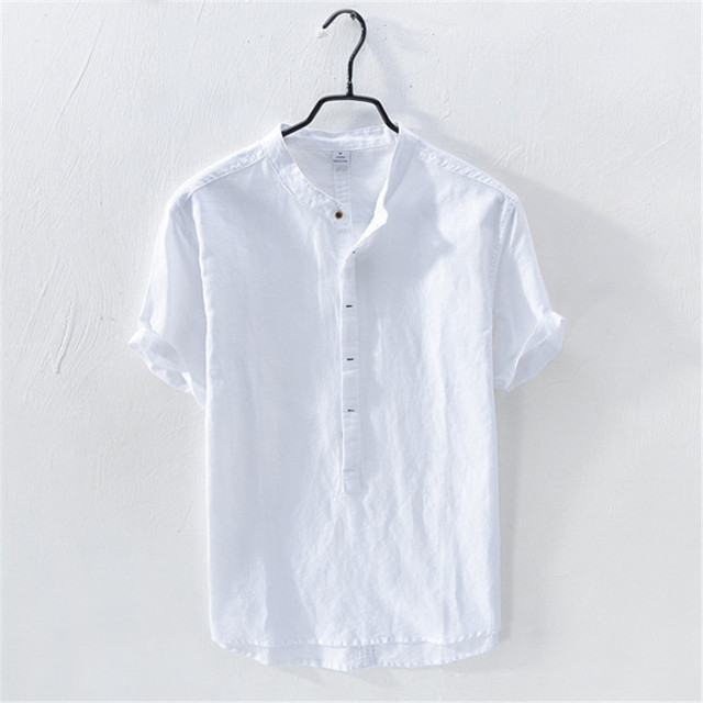 Casual Pullover Cotton Linen Shirts Men Short Sleeve Summer White Shirts Flax Thin British Fashion Solid Man Clothes Loose Fit