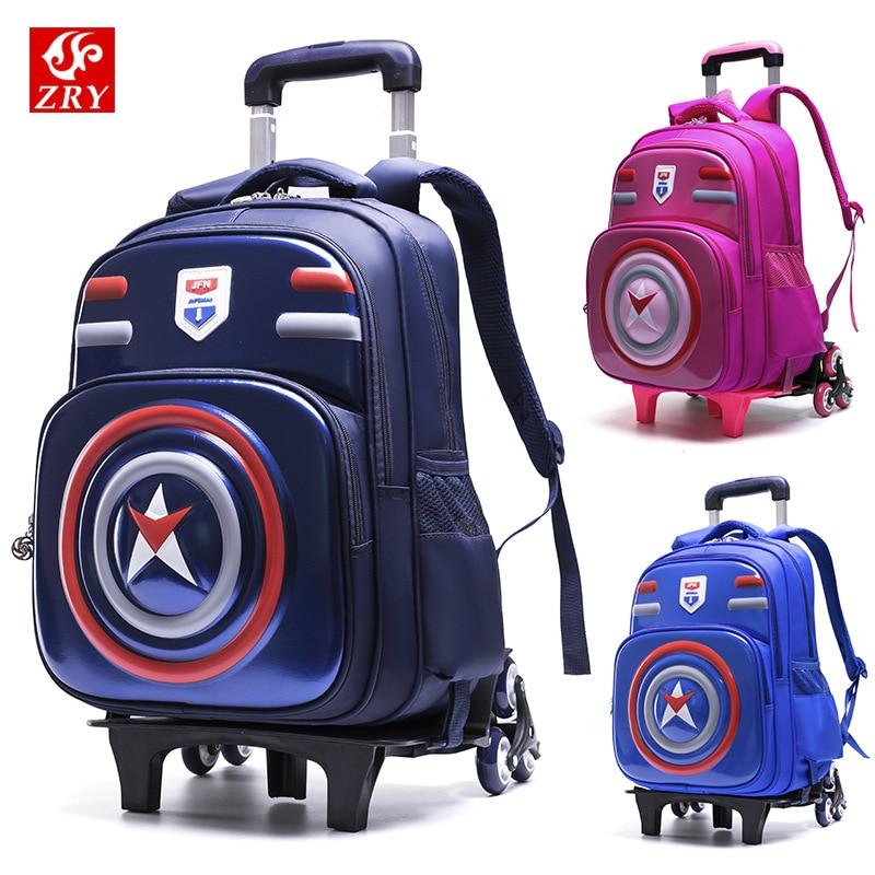 Kids Trolley Schoolbags for Teenager Orthopedic Waterproof Primary Escolar Backpack Children Wheels Removable Bookbags Trolley in School Bags from Luggage Bags