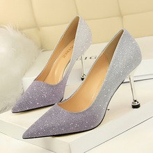 Spring WomenPumps Sweet Gradient Pointed Toe Shallow Slip-On 8.5cm Thin High Heels Ladies Party Sexy Female Shoes