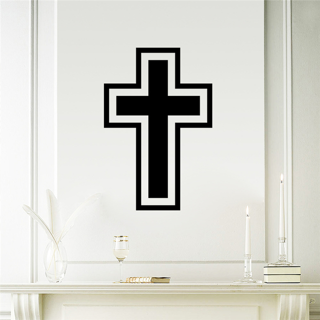 christian cross wall stickers for living room home decoration
