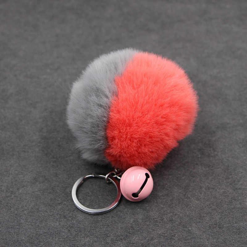 8 cm Fofo Chaveiro Pele Pom Pom & Bell Chaveiro Trinket Para As Mulheres Saco de Coelho Cabelo Falso Carro De Pele bola Anel Chave Chaveiro Llaveros
