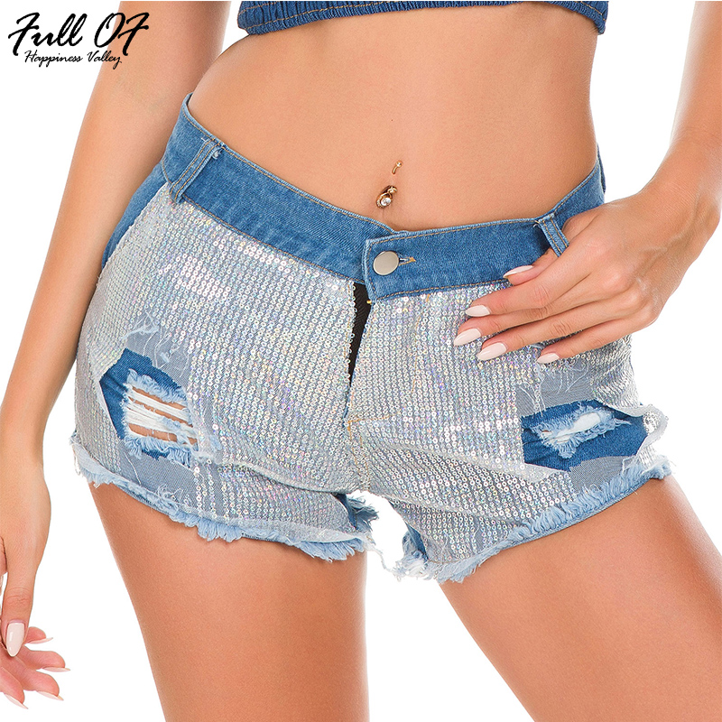 Sexy High Waist Sequin Shorts Jeans Woman Befree Fashion Calca Skinny Women Jeans Calca Push Up Jeans Night Club Party Bottom HL
