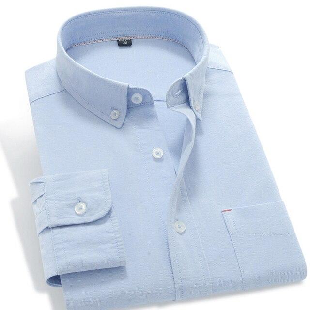 Blue Oxford Long Sleeve Men Shirts 2017 New Design Top Quality Pure Color 100% Cotton Spring Fashion Business Men Dress Shirts