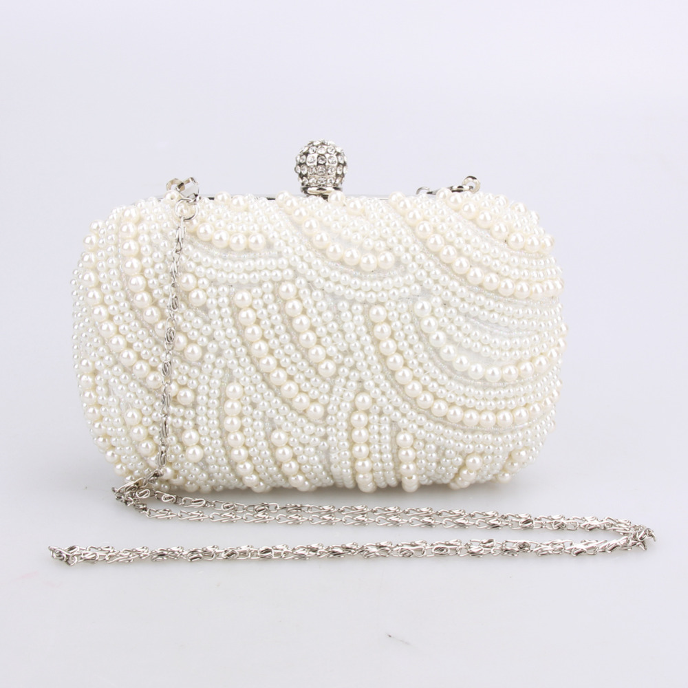 Fashion Luxury Crystal Pearl White Evening Clutch Bags Women Elegant Minaudiere Handbag Wedding Party Lady Purse Bag Hot Selling luxury crystal clutch bags uk hot sale pillow shaped white pearl clutch handbags for cheap women crystal evening bag with chain