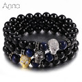 A&N Natural Black Agate Skull Charm Bracelet Shine Zircon Skull Blue Tiger Eye Natural Beads Charm Bracelets Casual Men Bracelet