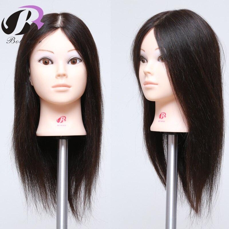 "18"" 100 Natural Black Human Hair Mannequin Head Practice Dye Bleach Perm Training Heads For Hairdresser School Salon Student"